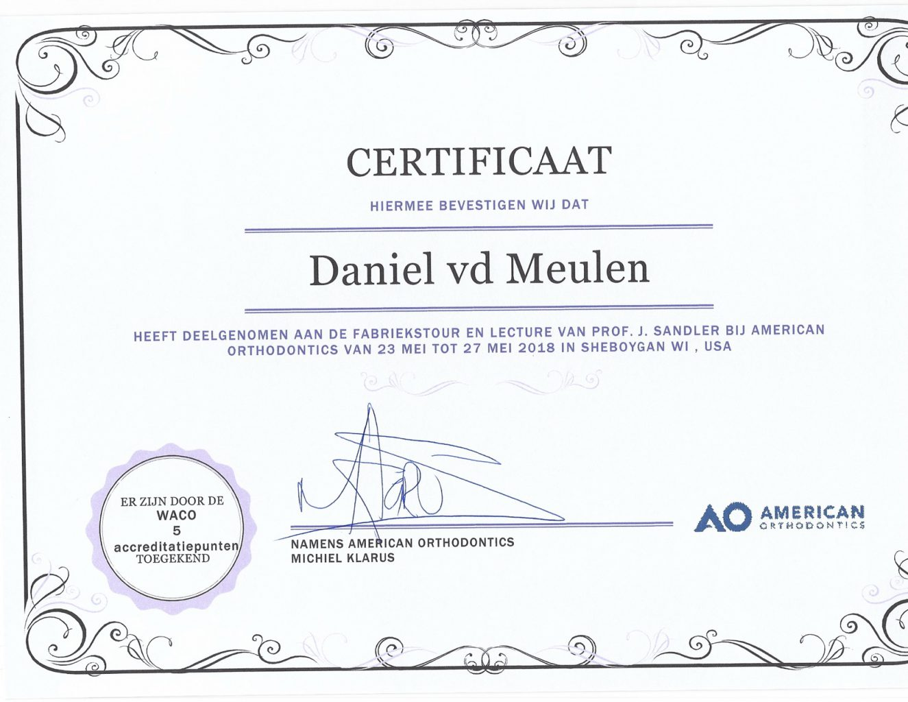 Certificaat AO fabrieksbezoek