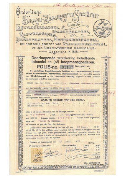 OBAS polis inboedelverzekering 1930.