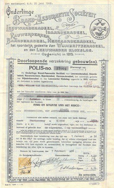 OBAS polis opstalverzekering 1936.