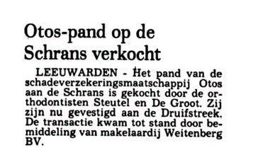 OTOS pand verkocht aan orthodontisten Leeuwarder Courant 19 dec 1977.