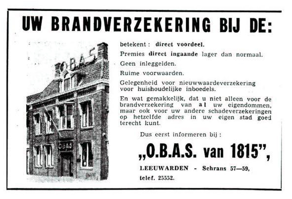 OBAS advertentie in de Leeuwarder Courant, 1 april 1960.