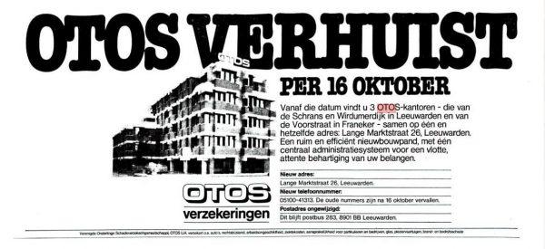 OTOS verhuist, Leeuwarder Courant 14 oktober 1978.