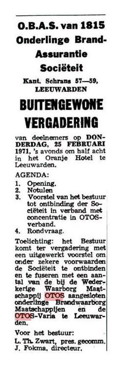 OBAS gaat op in OTOS, Leeuwarder Courant 12 februari 1971.